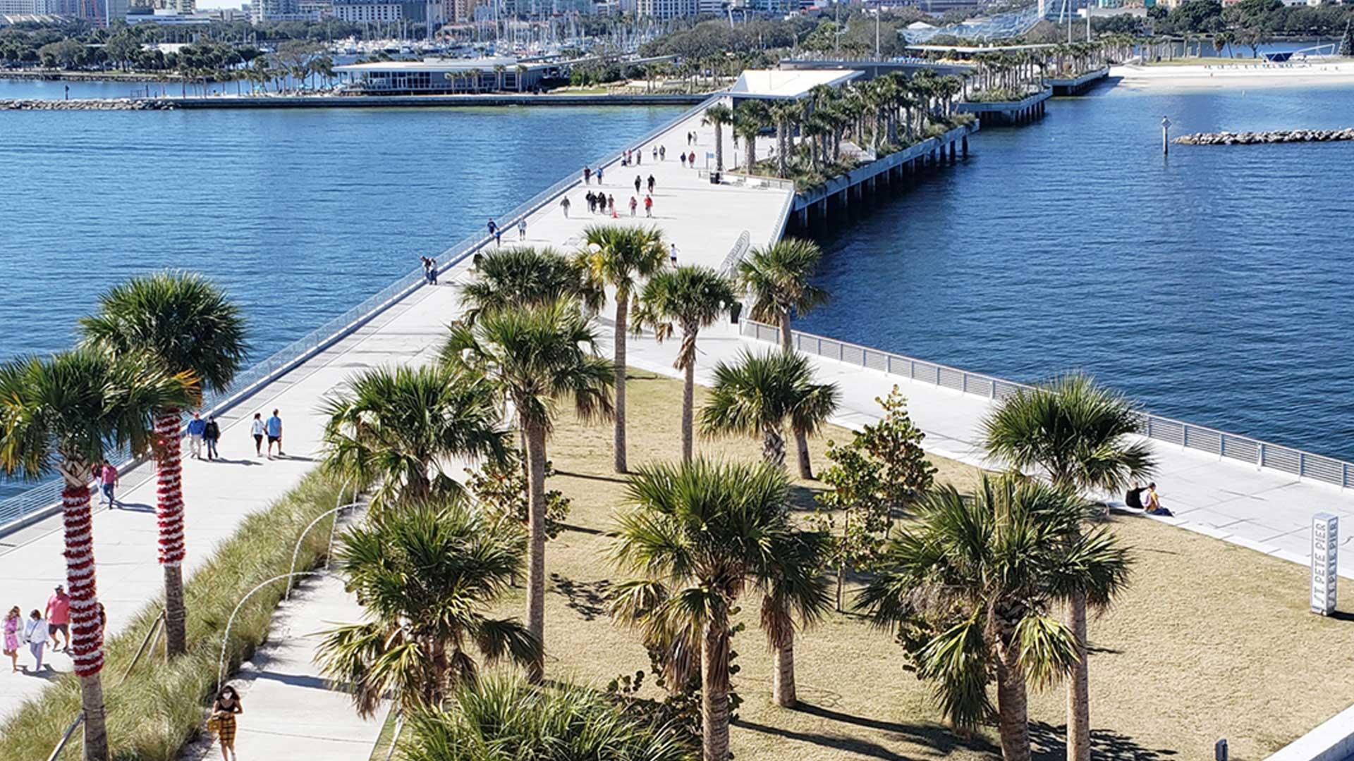 aerial photograph of people walking on the St. Petersburg pier in downtown St. Petersburg, Florida